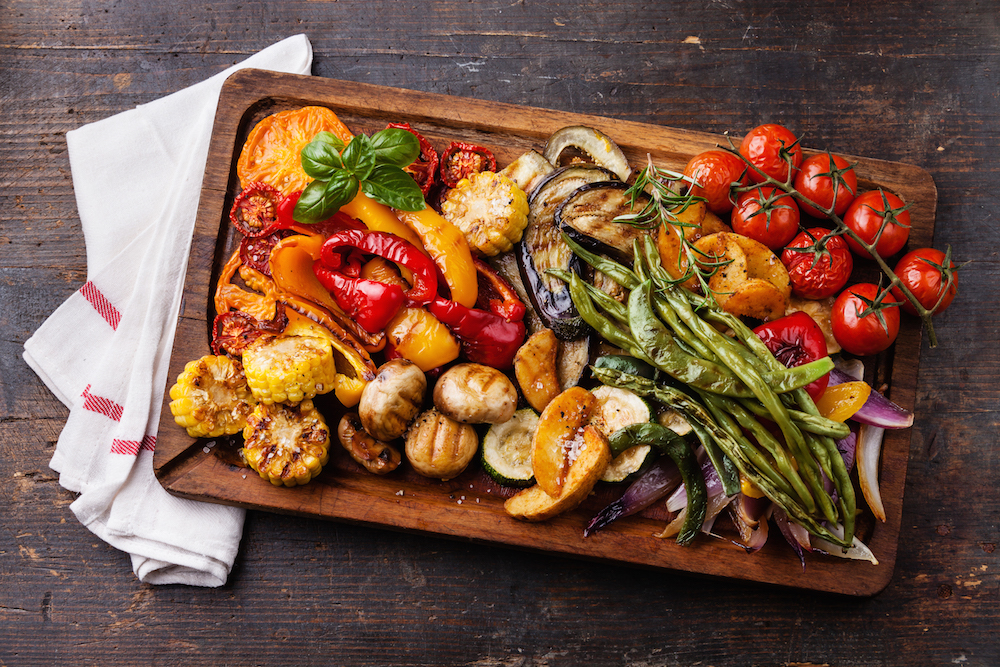 Grilled vegetables on cutting board